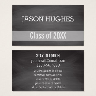 Graduation Networking | Rustic Chalkboard Personal Business Card