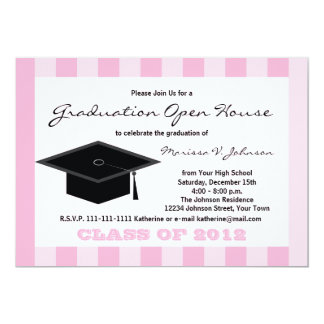 Graduation Open House Announcement Pink Stripes