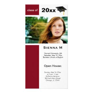 Graduation Open House (Firebrick) Customized Photo Card