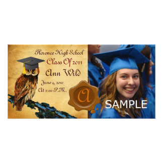 GRADUATION OWL PARCHMENT BROWN WAX SEAL MONOGRAM PERSONALIZED PHOTO CARD