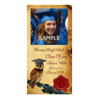 GRADUATION OWL RED BROWN WAX SEAL MONOGRAM PHOTO CARD TEMPLATE