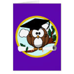 Graduation Owl w/ Cap & Diploma - Purple and Gold