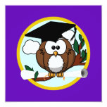 "Graduation Owl w/ Cap & Diploma - Purple and Gold 5.25"" Square Invitation Card"