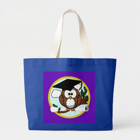 Graduation Owl w/ Cap & Diploma - Purple and Gold Large Tote Bag