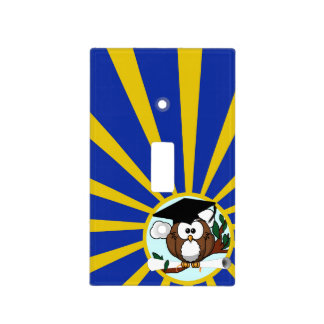 Graduation Owl w/ School Colors Blue and Gold Light Switch Cover