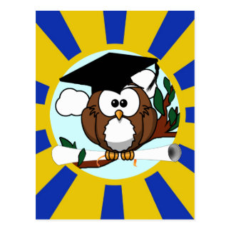 Graduation Owl With Blue And Gold School Colors Postcard