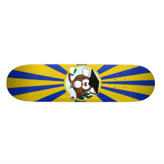 Graduation Owl With Blue And Gold School Colors Skate Board Deck