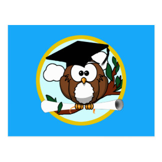 Graduation Owl With Cap & Diploma - Blue and Gold Post Card