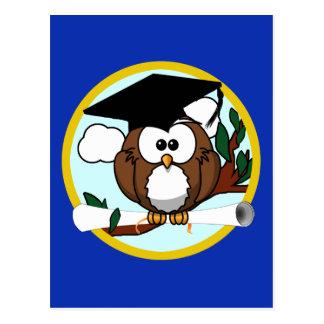Graduation Owl With Cap & Diploma - Blue and Gold Postcard