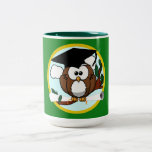Graduation Owl With Cap & Diploma - Green and Gold