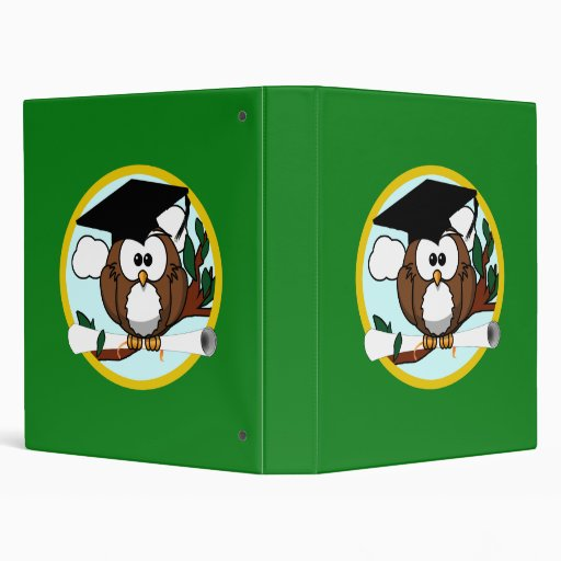 Graduation Owl With Cap & Diploma - Green and Gold 3 Ring Binders