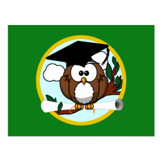 Graduation Owl With Cap & Diploma - Green and Gold Postcard