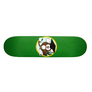Graduation Owl With Cap & Diploma - Green and Gold Skate Deck