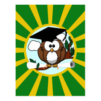 Graduation Owl With Green And Gold School Colors Post Card