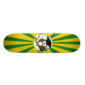 Graduation Owl With Green And Gold School Colors Skate Board Decks