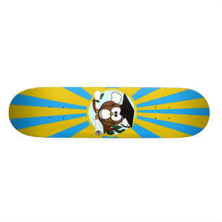 Graduation Owl With Lt.Blue And Gold School Colors Skate Board