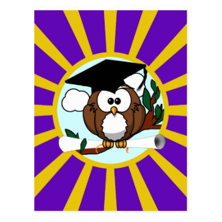 Graduation Owl With Purple And Gold School Colors Postcard