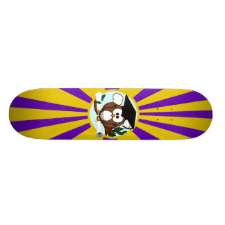 Graduation Owl With Purple And Gold School Colors Skate Deck