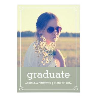 Graduation Party | Chic Grey Vintage Border Photo Card