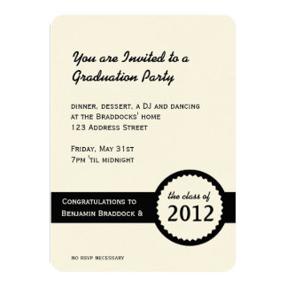 "Graduation Party Diploma Seal Class of 2012 4.5"" X 6.25"" Invitation Card"