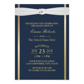 Graduation Party Elegant Navy Blue & Gold Stripes Card