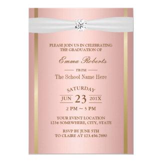 Graduation Party Elegant Rose Gold Ivory Ribbon Card