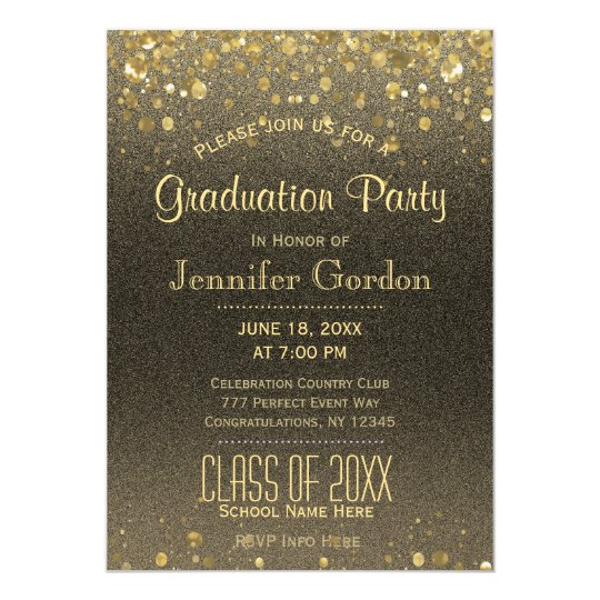 Graduation Party | Faux Gold Glitter Card