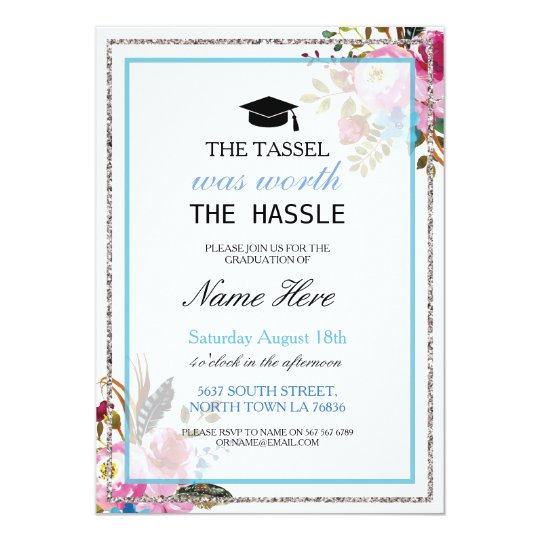 Graduation Party Floral Silver Girl's Invitation