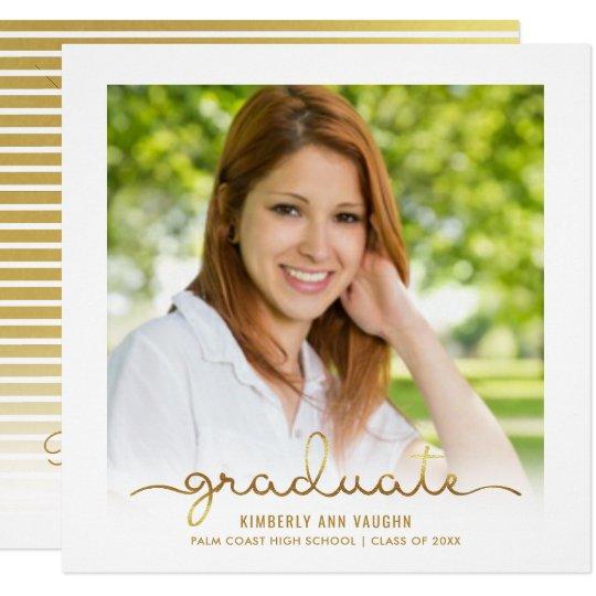 Graduation Party Gold Ombre Photo Announcement