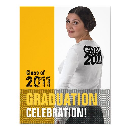 Graduation Party Invitation Add Photo Orange B7