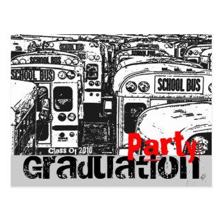 Graduation Party Invitation Black White Postcard