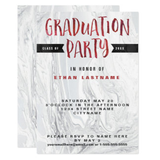 Graduation Party Marble Watercolor Card