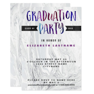 Graduation Party Marble Watercolor Card