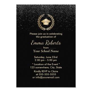 Graduation Party Modern Black Glitter Card