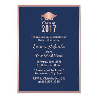 Graduation Party Modern Rose Gold & Navy Blue Card