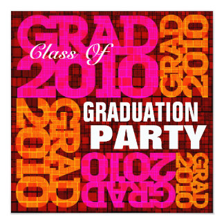Graduation Party Orange Pink Mosaic Invitation