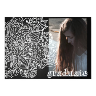 Graduation Party | Paisley Chalkboard Photo 5x7 Paper Invitation Card