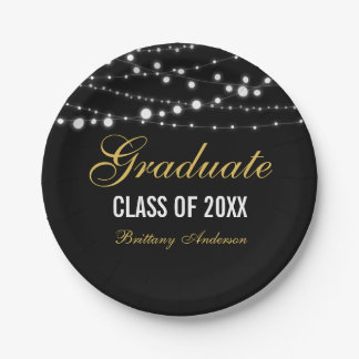 Graduation Party Paper Plates Black and Gold S
