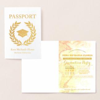Graduation Party passport gold foil Foil Card