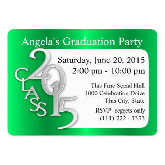 Graduation Party Photo Insert Card green Business Card Templates