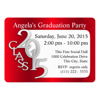 Graduation Party Photo Insert Card Red Business Cards