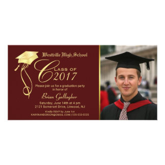 Graduation Party Photo Invitation Garnet & Gold