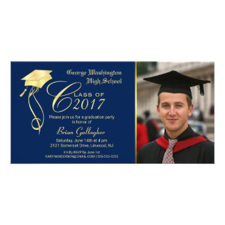 Graduation Party Photo Invitation with Gold Cap