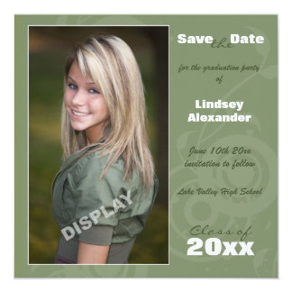 "Graduation Party Photo Save the Date 5.25"" Square Invitation Card"