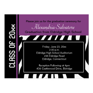 Graduation Party Postcard Zebra Stripe Violet
