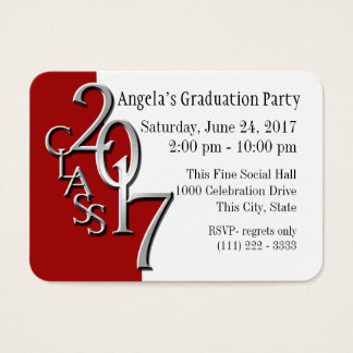 Graduation Party Red Photo Insert Card 2017