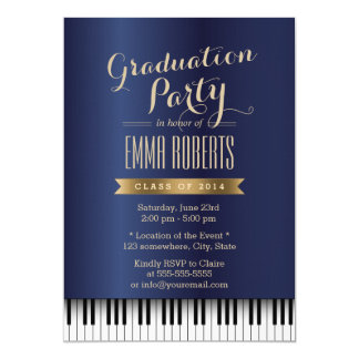 Graduation Party Royal Blue Piano Keys Music Major Card
