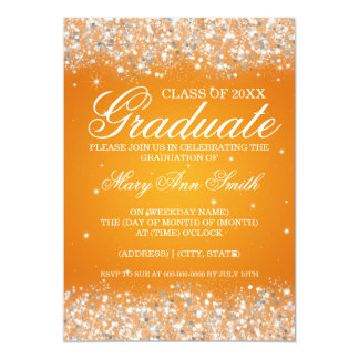 Graduation Party Sparkling Glitter Orange Card