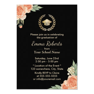 Graduation Party VIntage Floral Modern Black Gold Card