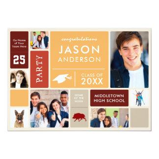 Graduation Party With Class Photos & Slogans Retro Card